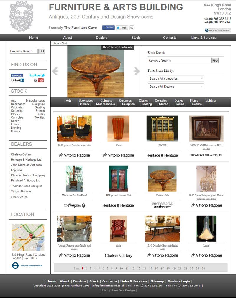 The furniture cave custom cms website for Furniture design site